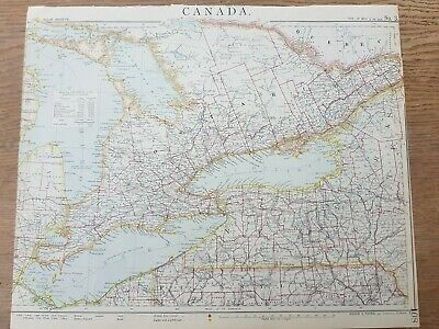 19THC MAP CANADA ANTIQUE 1889 CHARLES LETTS & CO / Lakes Huron, Eerie, Ontario