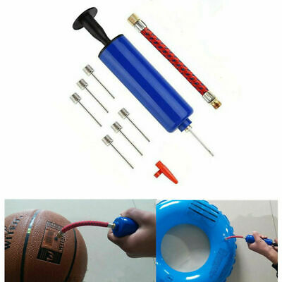 DURABLE Fast Inflating Hand Air Pump Ball Football Sports Needle Adapter UK