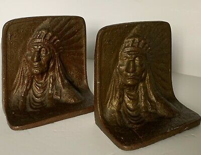 VTG Antique Early 1900 Native American Indian Heavy Cast bronze Old Bookends