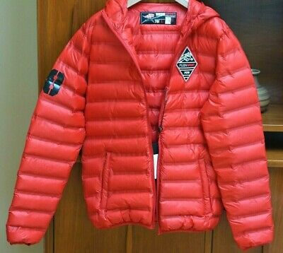 Philipp Plein Men's Red Hooded Puffer Bomber Jacket Size Medium/Athletic $645.00
