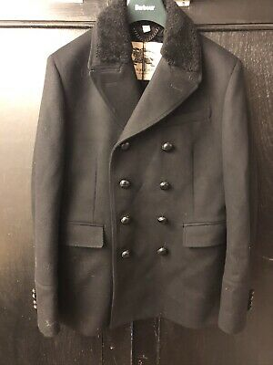 Burberry Men's Double Breasted Black Pea Coat 52