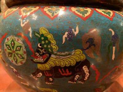 A Large Chinese Qing Dynasty Cloisonné Censer.