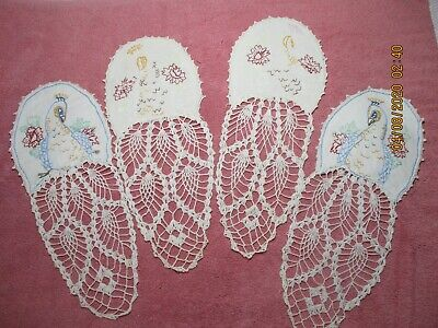 4 Vintage Lace Doilies With Embroidered Peacocks