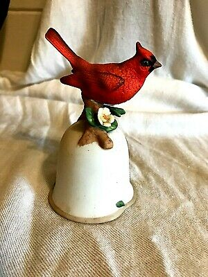 collectible red ceramic male cardinal bird hand painted porcelain bell