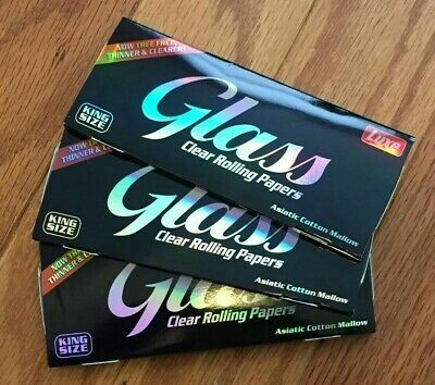 Clear Glass Rolling Papers King Size Luxe 3 Packs 40 Sheets Per Pack