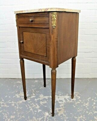 Antique Art Deco Inlaid Mahogany Wash Stand Bedside Cabinet Table Cupboard