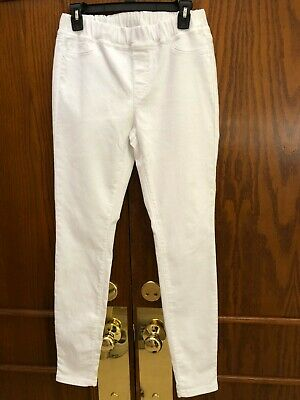 EILEEN FISHER Stretch White Elastic Waist Organic Cotton Pants Size Ex-Small