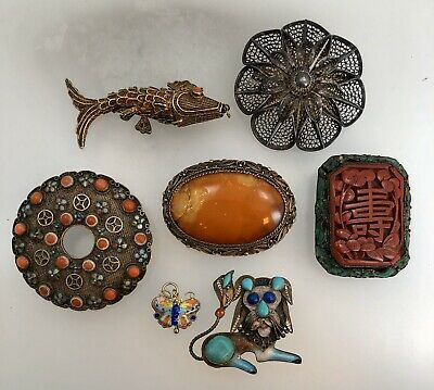 Chinese Export Silver Lot - Amber Cinnabar Coral Turquoise Enamel