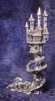 Tall Pewter CASTLE with Dragon Chasing Wizard - Many Crystals