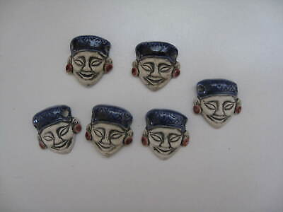 Antique CHINESE Lot of 6 Porcelain Hand Painted MAN FACE Jewelry Making Pieces