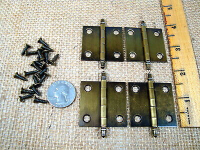 Lot of 4 Small NOS Amerock Antique Brass Hinges W/Finials Jewelry Box Hinges
