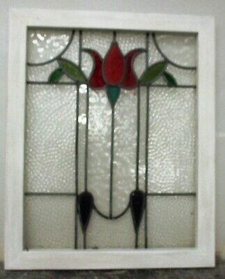 "MIDSIZE OLD ENGLISH LEADED STAINED GLASS WINDOW Pretty Tulip 20.5"" x 25.25"""