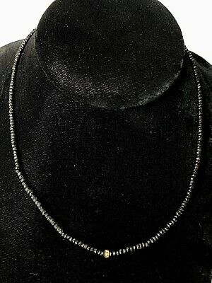 "18K Yellow Gold Black Spinel 16"" Inch DH Necklace"