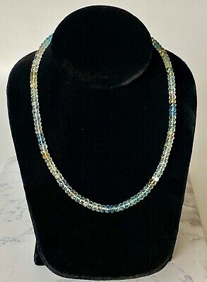 "18k Yellow Gold 17"" Inch Aquamarine Necklace"