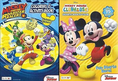 Lot of 2 - 224 Page Disney Mickey Coloring Books Stickers Children's Boys Kids