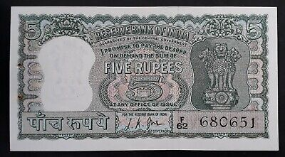 SCARCE 1967 Reserve Bank of India 5 Rupees Banknote P 54b aUNC
