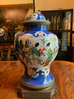 A Large and Excellent Chinese Qing Dynasty Powder Blue Famille Rose Vase Lamp.