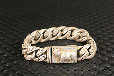 fashion Chinese old tibet silver hand carved pig cool bracelet gift