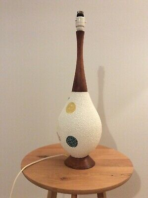 Mid century, ceramic and teak lamp base, pebbled texture, good vintage condition