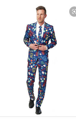 Mens Comedy Vagas Casino 3 Piece Suit Navy Blue Stag Do Holiday