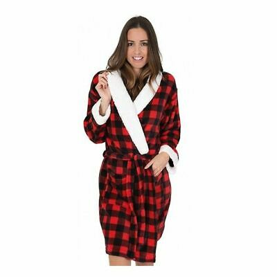 Womens/Ladies Fleece Check Sherpa Robe/Dressing Gown Red Size 8-22