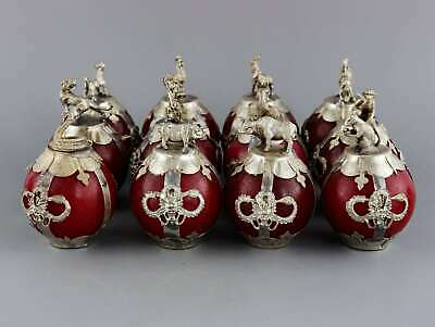 Collectable Old Miao Silver Armour Agate Hand-Carved 12 Zodiac Auspicious Statue