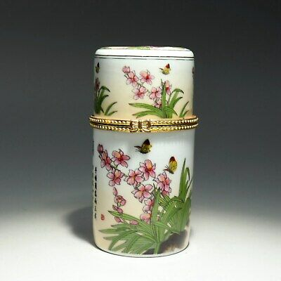 Collectable Old Porcelain Hand-Paint Bloomy Flower Delicate Unique Toothpick Box