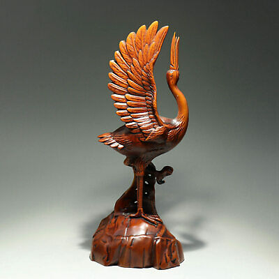 Collectable China Old Boxwood Hand-Carved Crane Moral Bring Luck Decor Statue