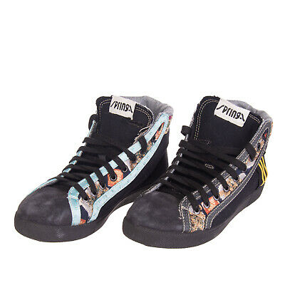 SPRINGA High Top Sneakers Size 38 UK 5 Contrast Suede HANDMADE in Italy