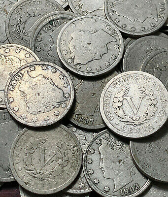 2 LOT of Old U.S Liberty V Nickel CULL Coins //// 1883-1912 //// Antique Money