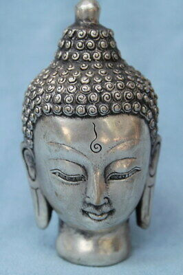 Collectable Ancient China Decor Miao Silver Carved Buddha Head Auspicious Statue