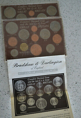 Great Britain Last LSD and First Decimal Coin Set Uncirculated, Two Sets