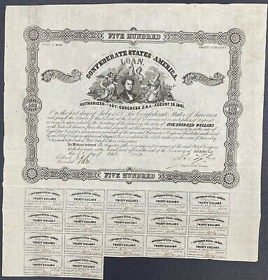 $500 Confederate States Coupon Bond – Criswell 63, Ball 81