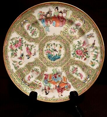 19TH C Antique Chinese Export Famille Rose Porcelain Plate with Human Figures