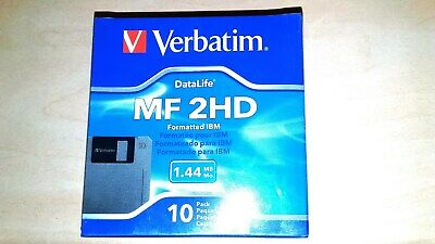 Verbatim DataLife 3.5'' Floppy Disk Formatted IBM 1.44Mb Storage Pk of 10 MF2HD