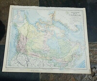 19Thc Map Canada Original Antique 1889 Letts Charles Letts & Co - Excellent