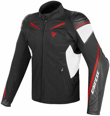 Dainese Street Master Black White Lava-red Leather-tex Jacket