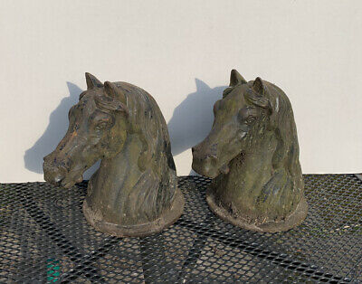 Pair Of Cast Iron Weathered Horses Heads