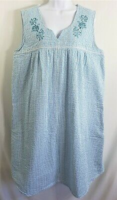 VERMONT COUNTRY STORE 2X Teal Blue Striped Seersucker Sleeveless House Dress