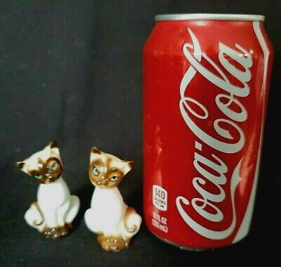 Siamese Cat Salt Pepper Shakers Vintage 50s Retro 2.50 in Original Label Japan