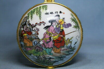 Collectable Decor Rare Porcelain Painting Two Sisters Beautiful Auspicious Box
