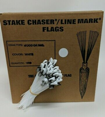 """100 Count White Smi-Carr 6/"""" Stake Chaser® Whiskers//Line Mark® Flags"""