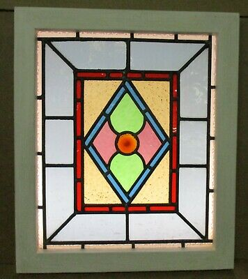 "VICTORIAN ENGLISH LEADED STAINED GLASS WINDOW Small Diamond Design 16"" x 19"""