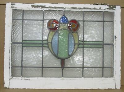 """MIDSIZE OLD ENGLISH LEADED STAINED GLASS WINDOW Double Rose Design 29.5"""" x 21.5"""""""