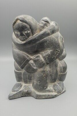 Inuit Sculpture Soapstone Carving, Mother Holding Child on Back Signed Canada 7""