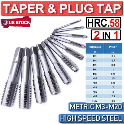HSS 20mmx1.5 Metric Taper and Plug Tap Right Hand Thread M20x 1.5mm Pitch