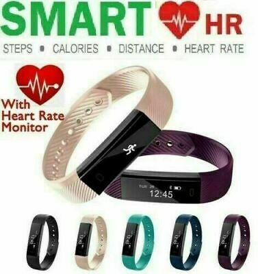 Fitness Activity Tracker Real Heart Rate Monitor Step Fit Bit Yoga Sports Watch