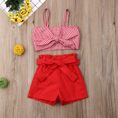 Kids Summer Pants Girls Set Bowknot Plaids Strap Crop Tops + Plain Color Shorts