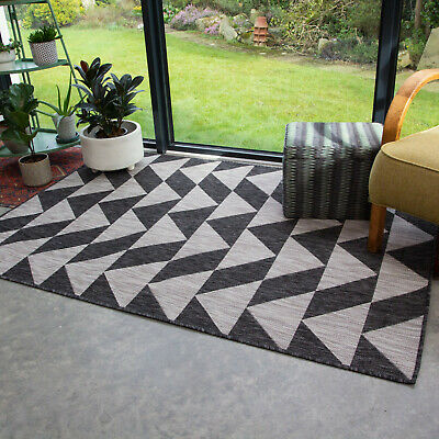 Black & Grey Geometric Rug Small Large Washable Mats Dryable Outdoor Rugs BBQ