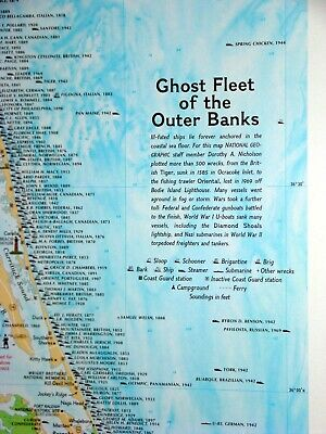 Ghost Fleet Map of the Outer Banks of North Carolina.   First published by NatGe